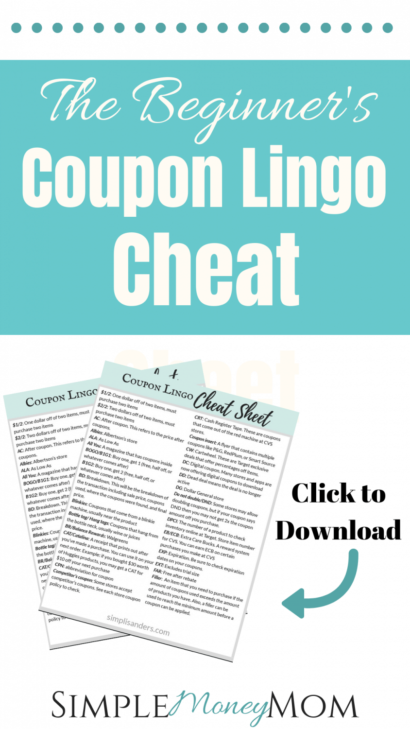 This is your one stop shop for learning all of the coupon terms. If you want to be successful with using coupons and saving a ton of money, then you'll need to first understand the lingo. There is also a free download for you! #savingmoney #coupons #couponing101 #moneytips #printable #simplemoneymom
