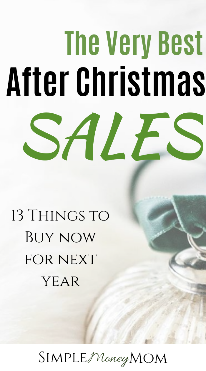 Get a head start by shopping the after Christmas sales for next year. Save up to 90% off on many items! Learn what to buy and when. #savingmoneyideas #christmas #smartmoney #womeninfinance #simplemoneymom