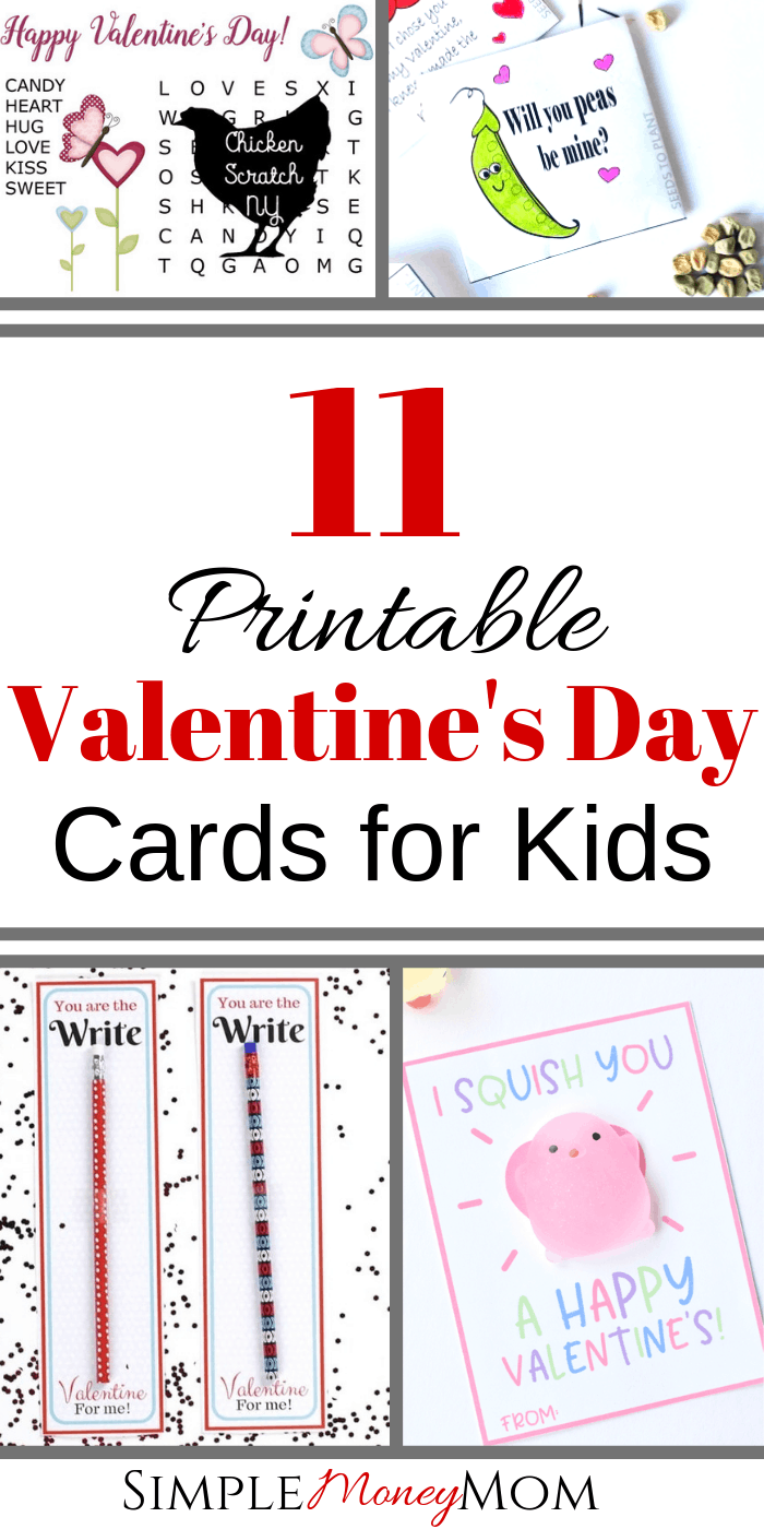 Make these easy Valentine's Day cards for kids this year at home. Be unique and DIY your Valentine's Day cards, print them at home, and send them with your kid to their classroom! #valentinesday #valentinesdaycardsforkids #valentineprintables #simplemoneymom