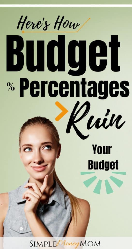 Budgeting percentages won't work for everyone and here's why. Take a look at the pros and cons on budgeting using percentages what I recommend instead. #budgeting101 #budgetingtips #personalfinance #502030budgets #savingmoney #daveramsey #simplemoneymom