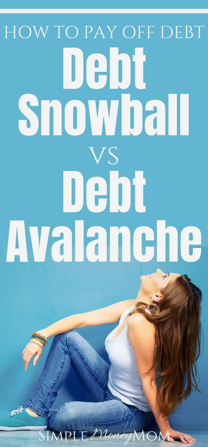 What is the right way to pay off debt? Is it the debt snowball or debt avalanche? See my head to head comparison of these two methods of repayment and find out which tool you can use to help you make your decision so that you can become debt free! #debtfree #getoutofdebt #snowball #avalanche #simplemoneymom