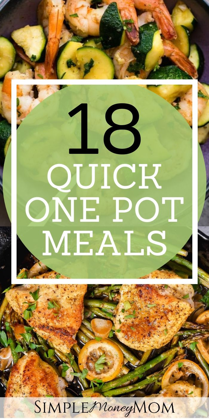 Need a list of one pot meals for your busy nights? I've pulled together a great list of recipes for the busy mom who struggles to decide what to cook for dinner when time is tight. #onepotmeals #instantpotmeals #quickmeals #frugalmeals #fastrecipes #recipes #simplemoneymom