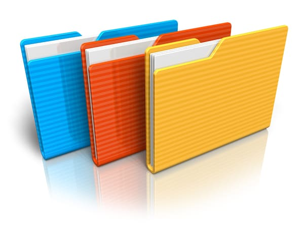 Different colored folders to organize your personal budgeting categories