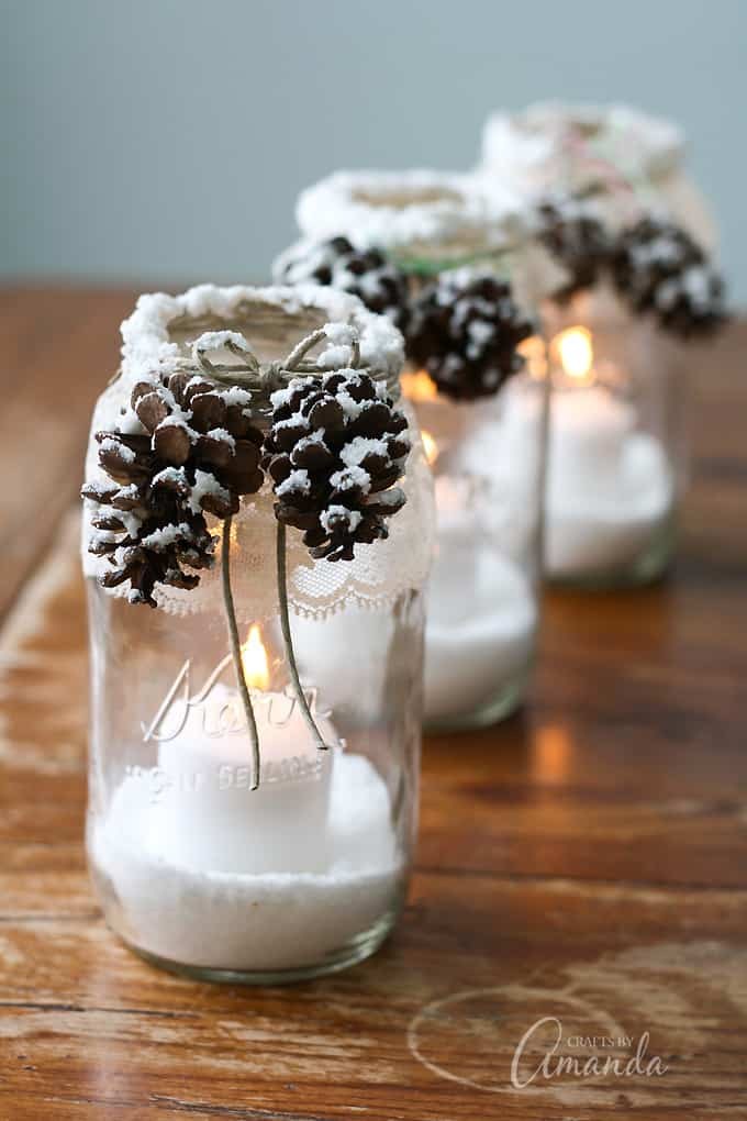 Pinecone Snowy Candle Jars