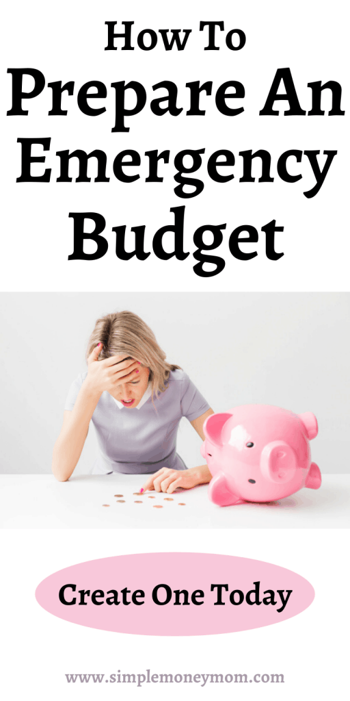 Do you have an emergency budget in place to refer to during a crisis? Prioritizing your money is so important for a budget and matters even more during a crisis. Here is a 5 step process to figuring out your emergency budget. #budget #emergencybudget #crisisbudget #simplemoneymom