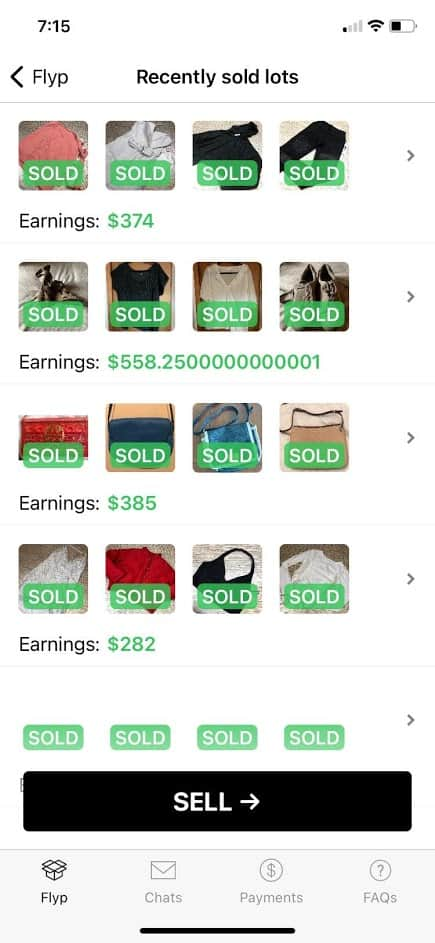 Example of Flyp: Sell Your Clothes Online app screenshot. Shows recently sold clothing items.