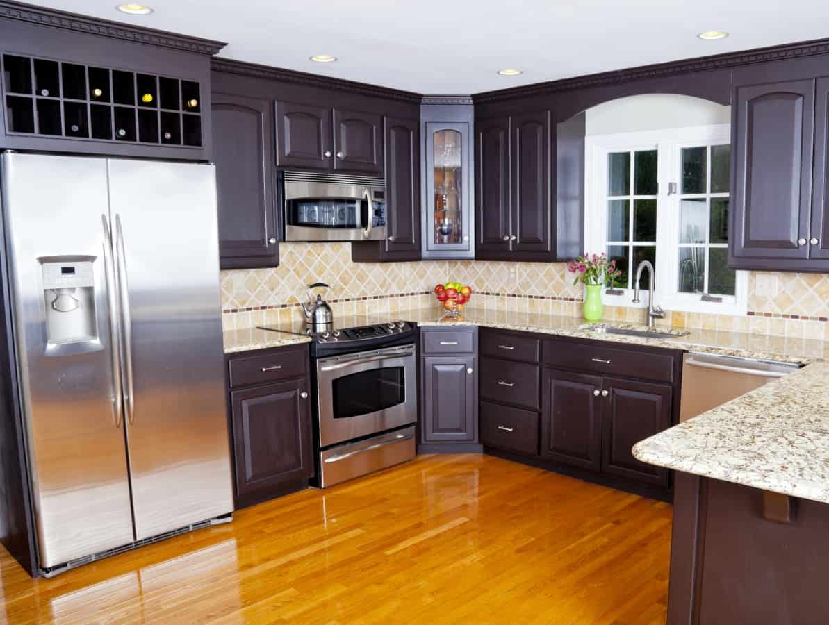 Kitchen with energy star appliances to save money on electric bill
